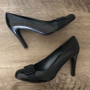 Like New Stuart Weitzman Black Buckle Pumps